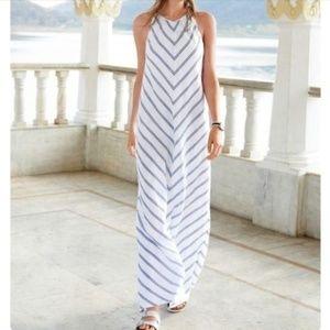 J. Crew Linen Chevron Sleeveless Maxi Dress size 0